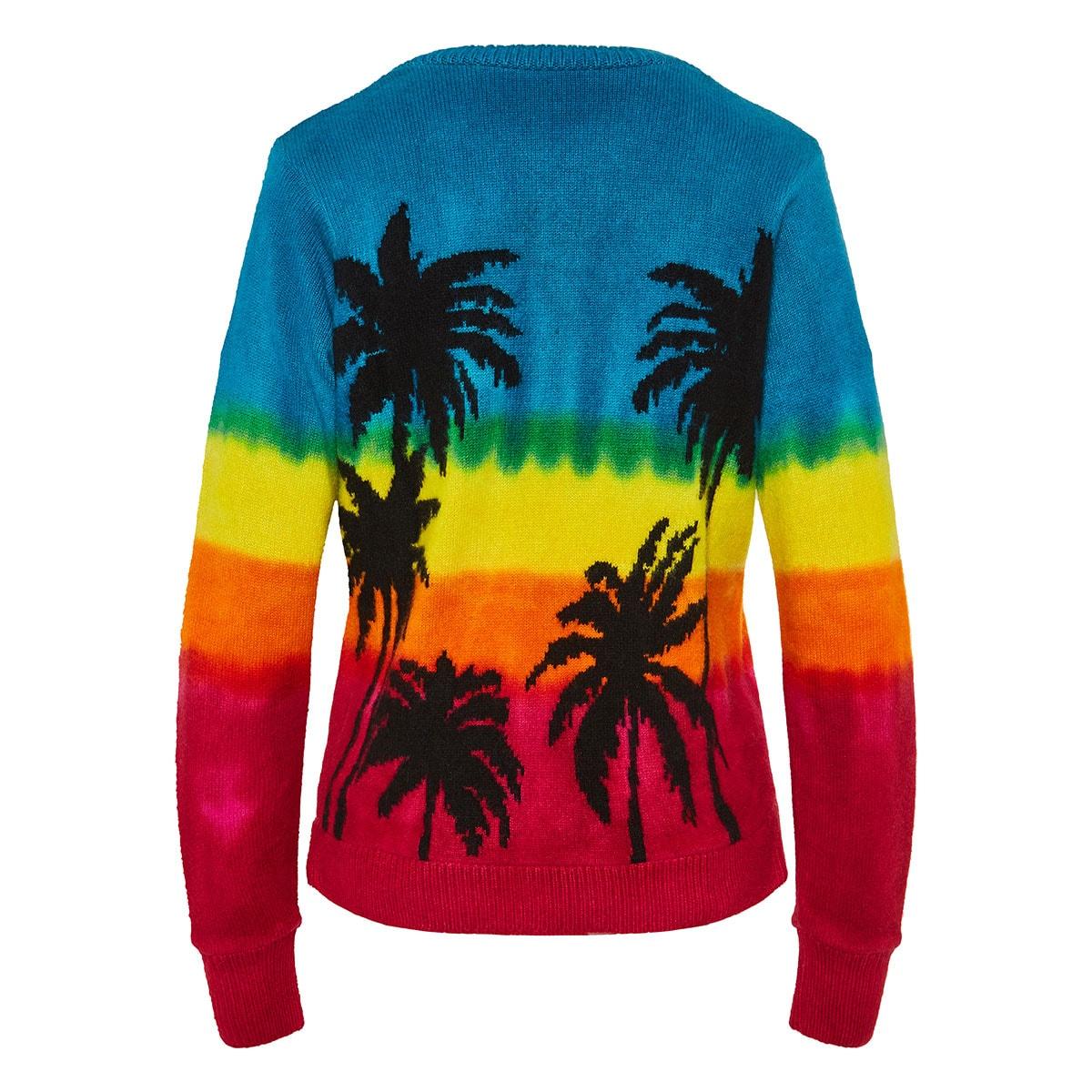 Tie-dye palm cashmere sweater