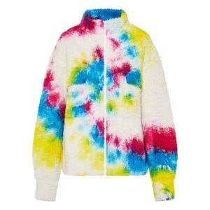 Tie-dye oversized teddy jacket