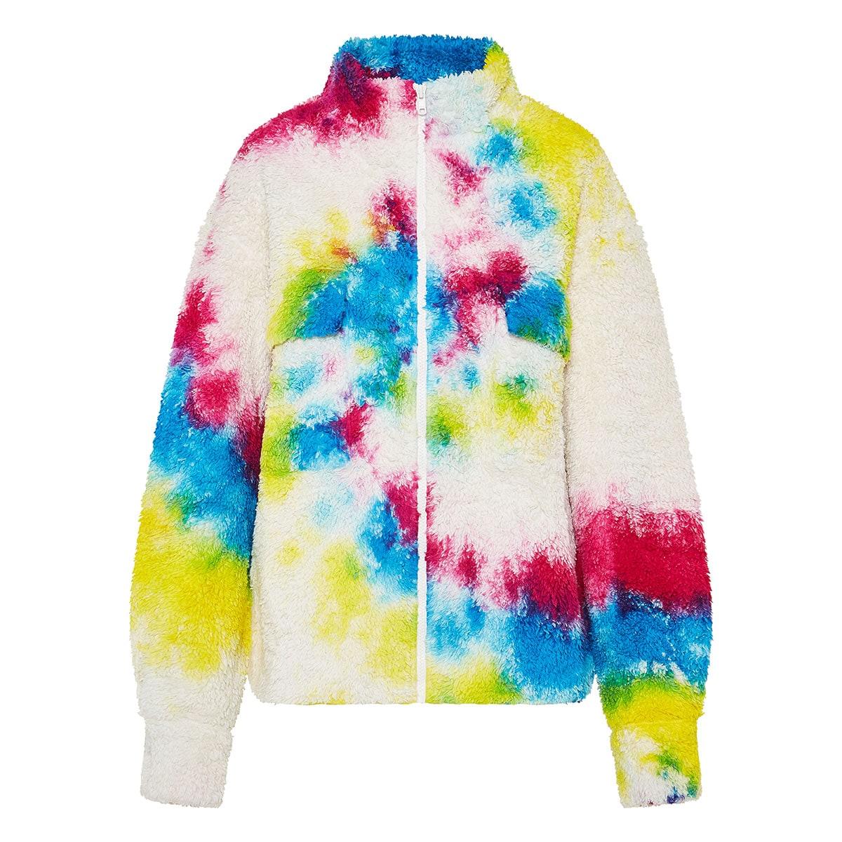 Tie-dye oversized teddy jacket