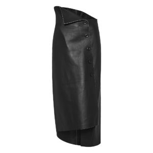 Verna asymmetric leather skirt