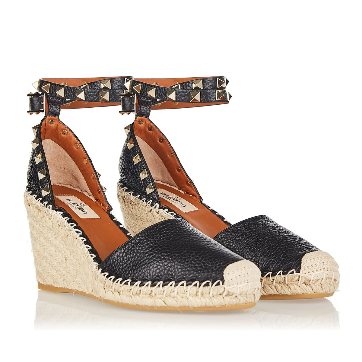 Rockstud leather espadrille wedges