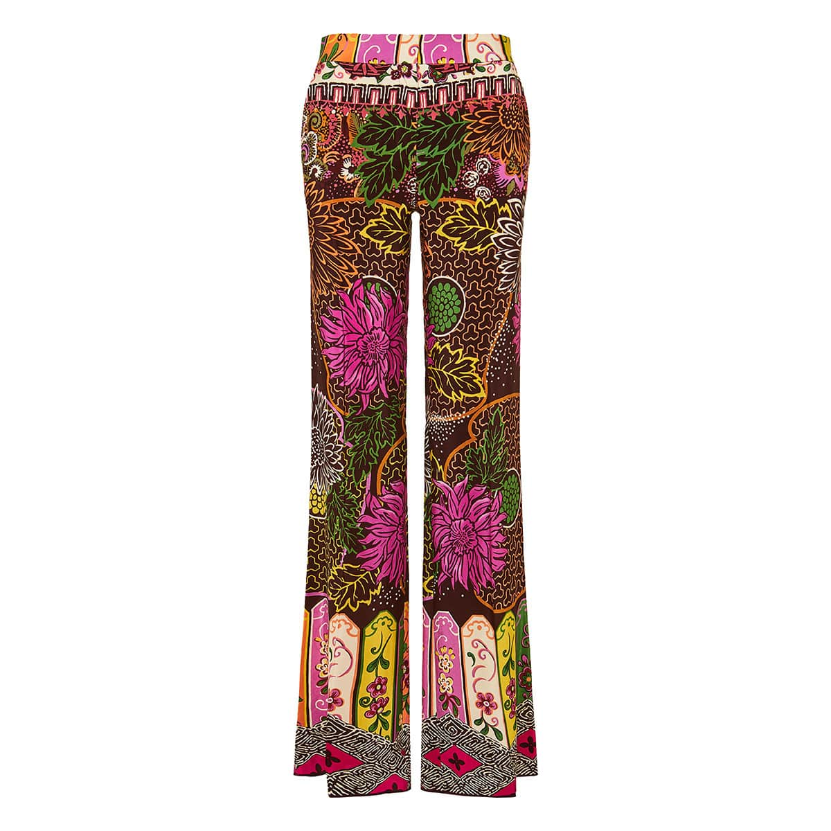 Wide-leg printed trousers