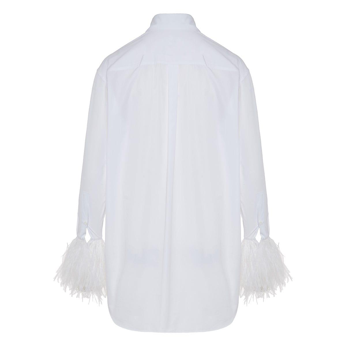 Poplin shirt with feather cuffs
