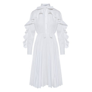 Ruffled poplin midi dress