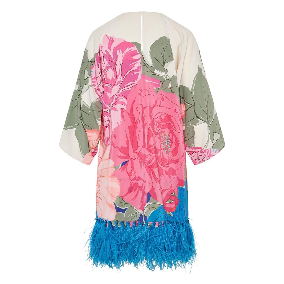 Feather-embellished floral crepe dress