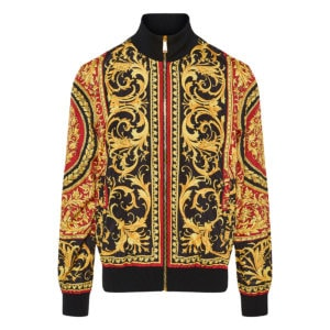Baroque-print reversible bomber jacket