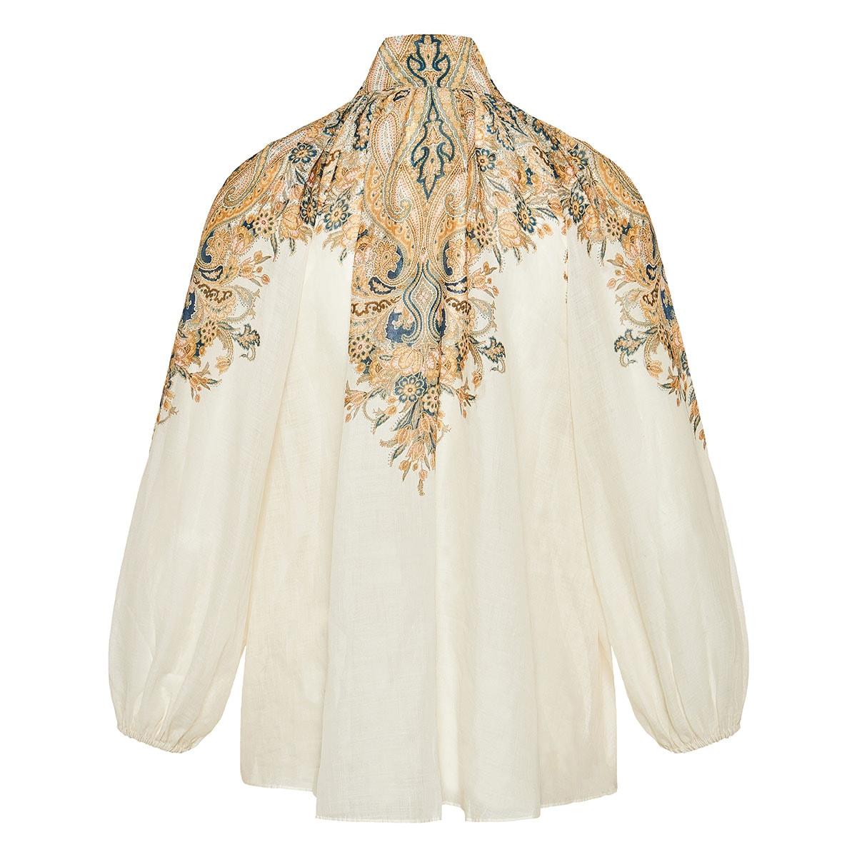 Freja balloon-sleeved paisley blouse