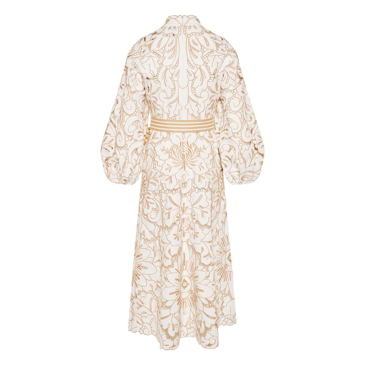 Edie embroidered linen midi dress