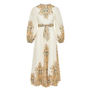 Freja long printed linen dress