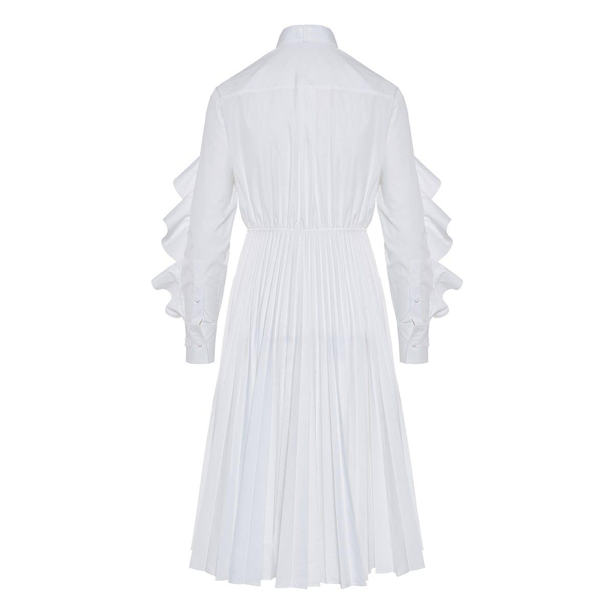 Ruffled poplin midi dress