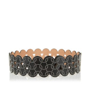 Studded leather scalloped belt