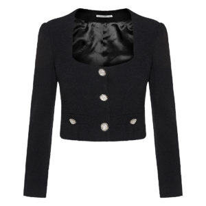 Embellished cropped wool jacket