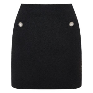 Embellished wool mini skirt