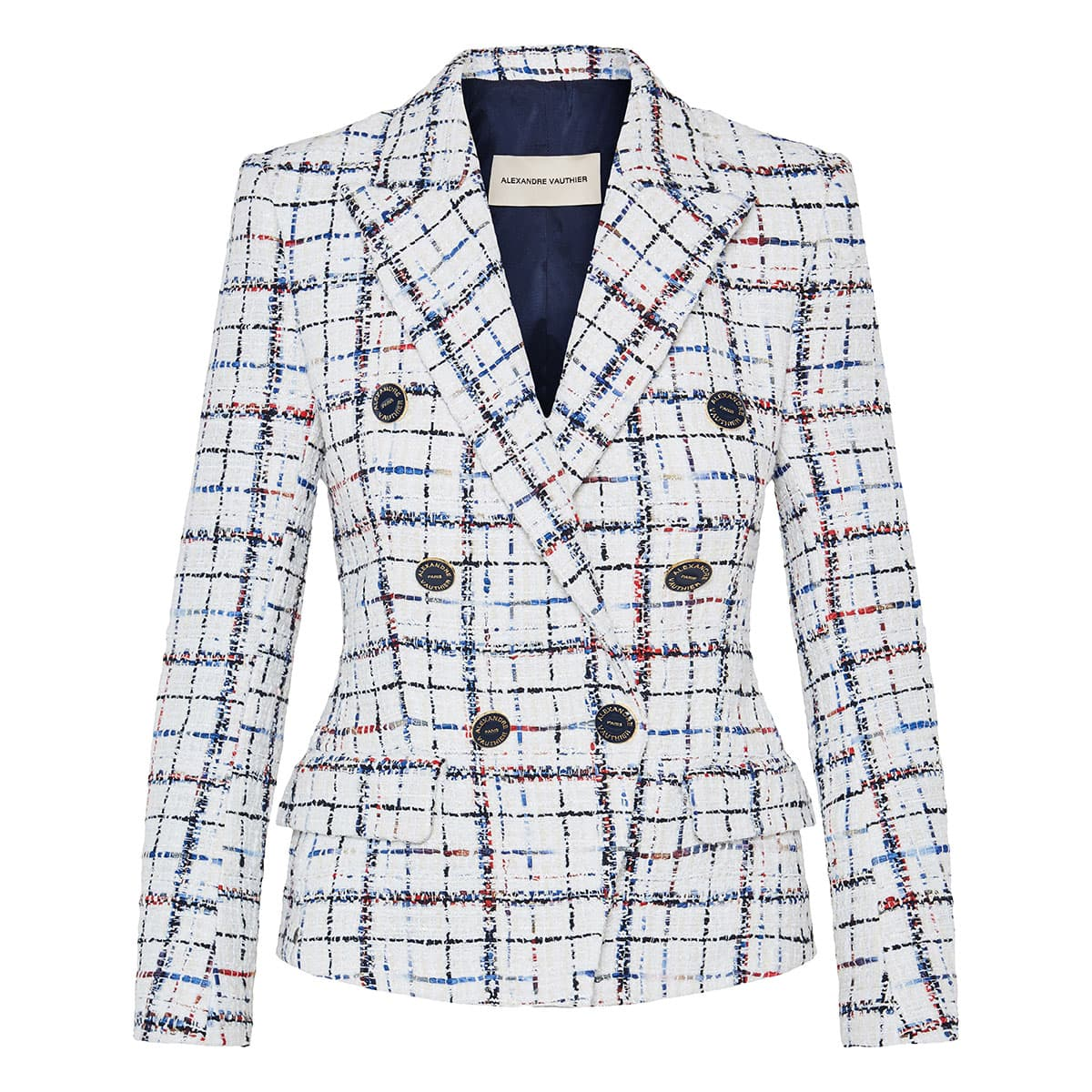 Double-breasted checked tweed blazer