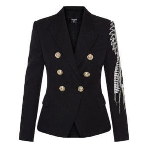 Double-breasted blazer with jeweled embroideries