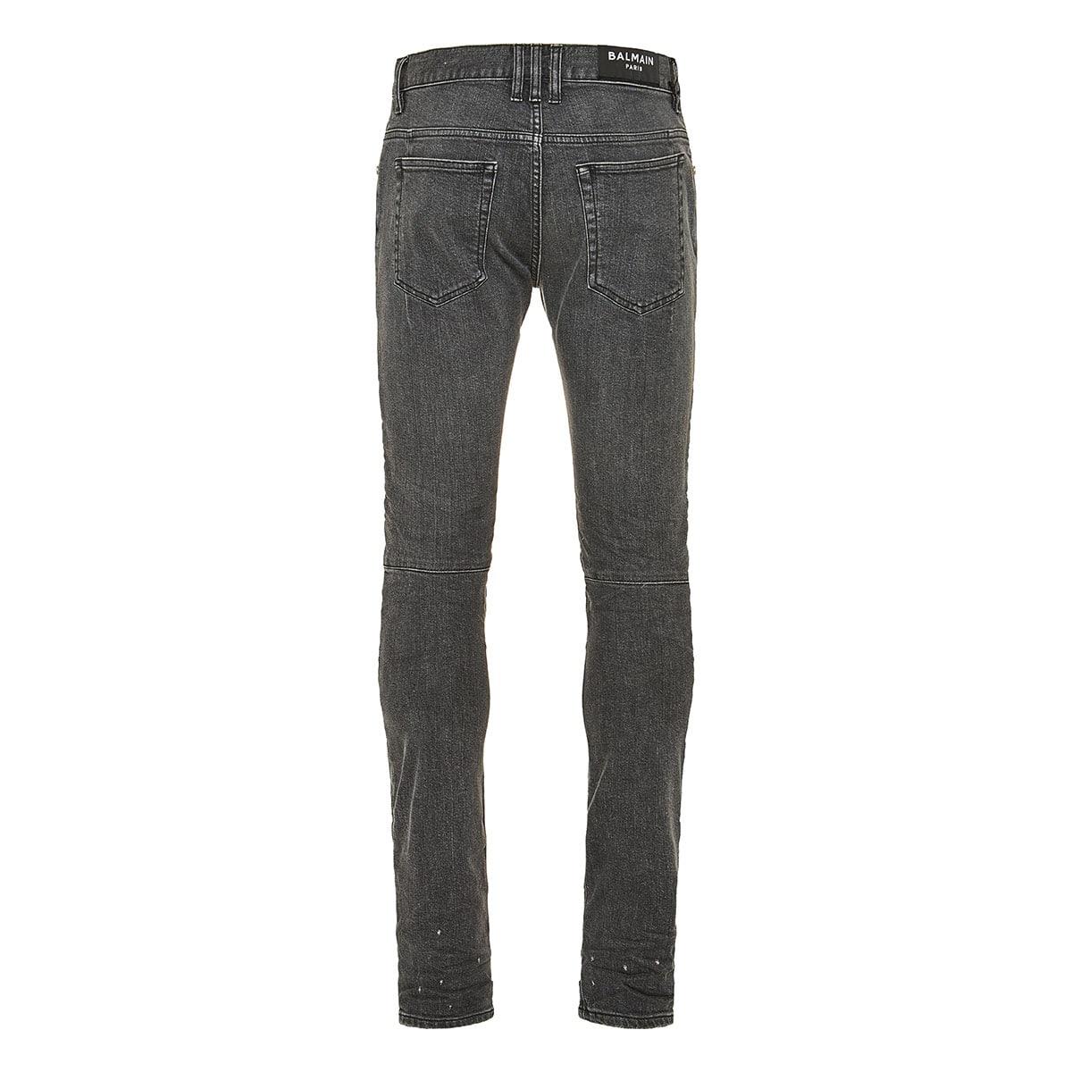 Biker-style ripped skinny jeans