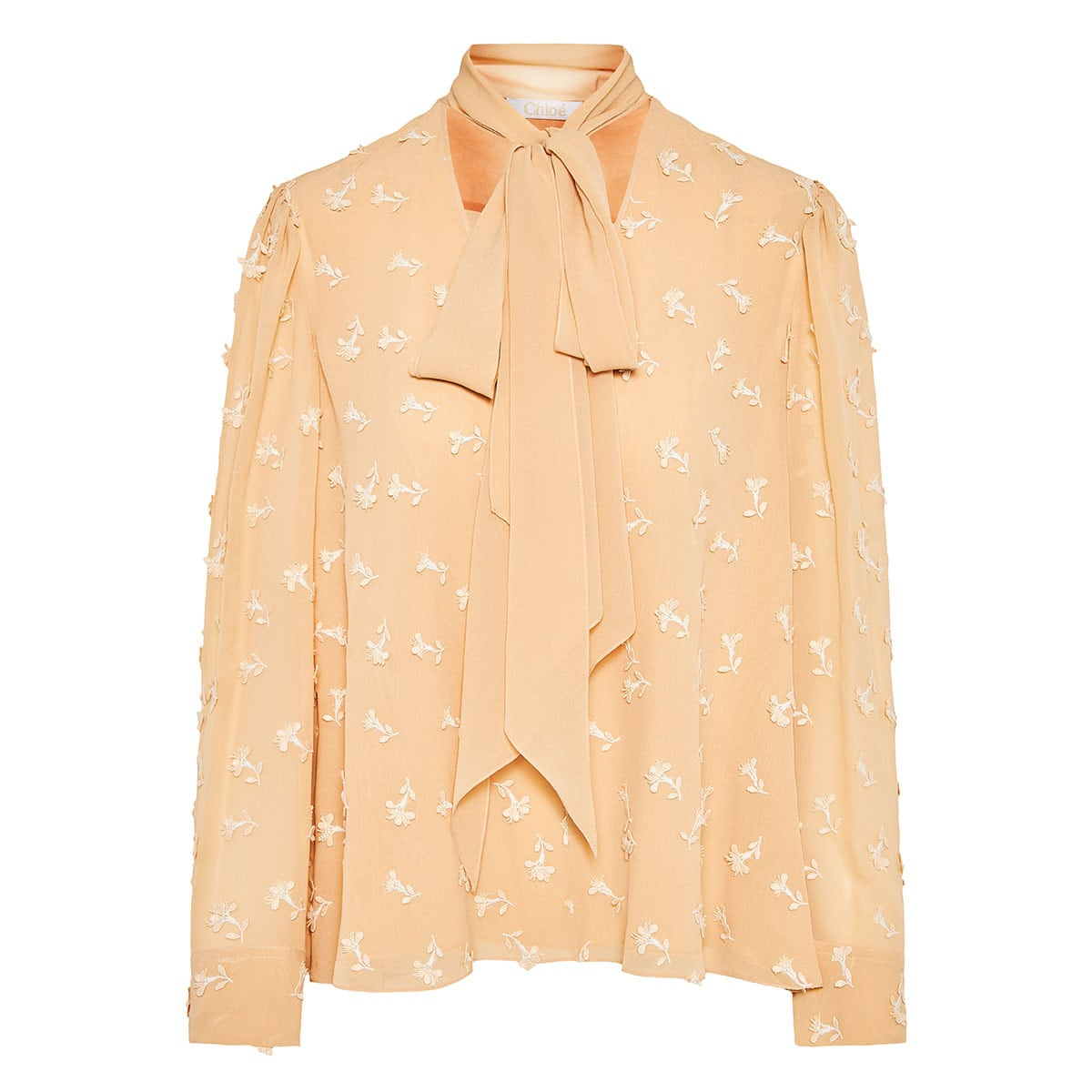 Bow-tie blouse with embroidered flowers