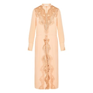Lace-paneled silk midi dress