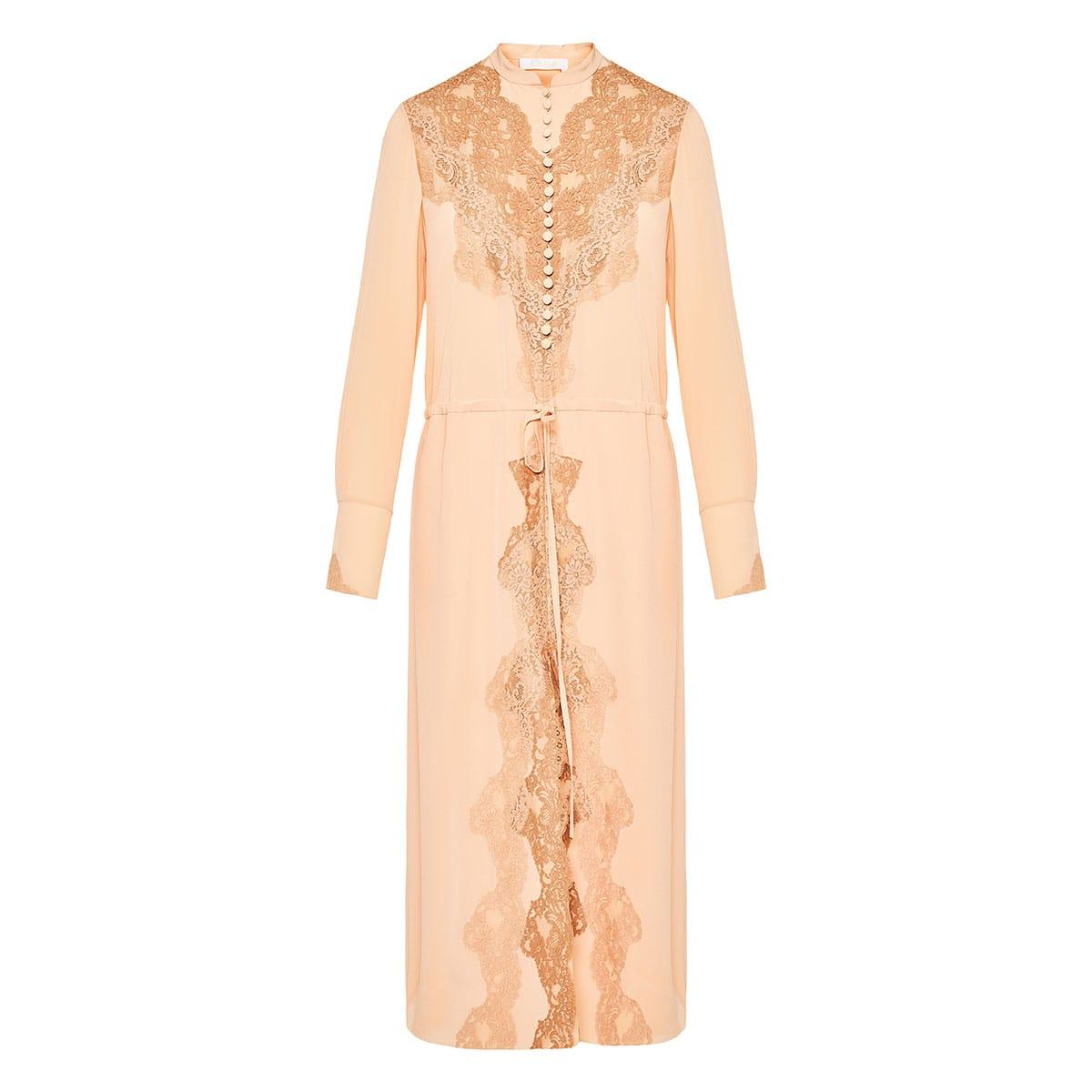 Lace-paneled silk midi dress