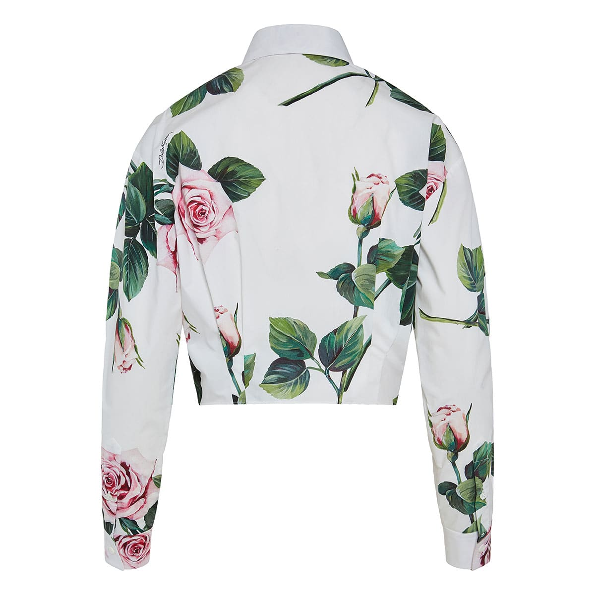 Floral knotted cropped shirt