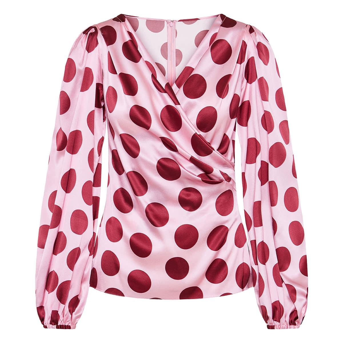 Polka-dot wrap satin blouse