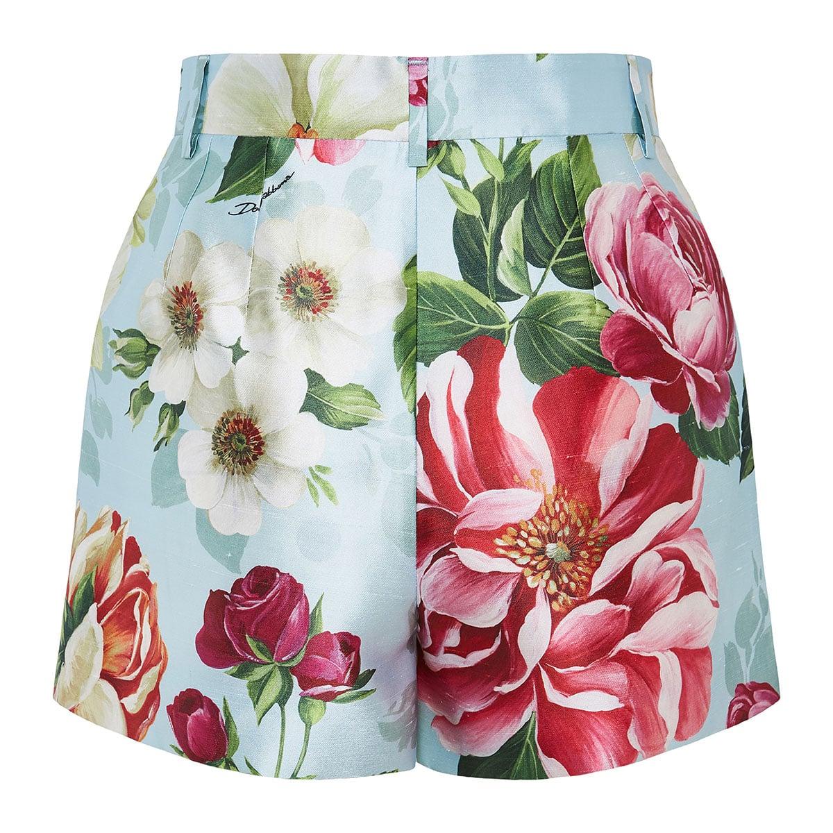 High-waist floral shorts