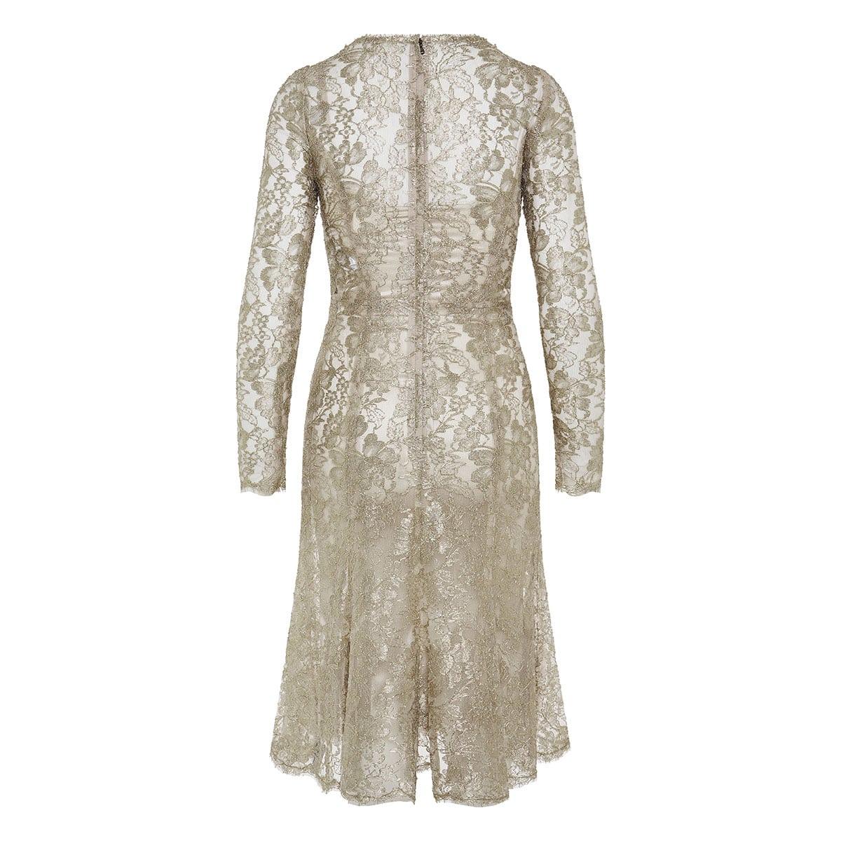 Metallic lace midi dress