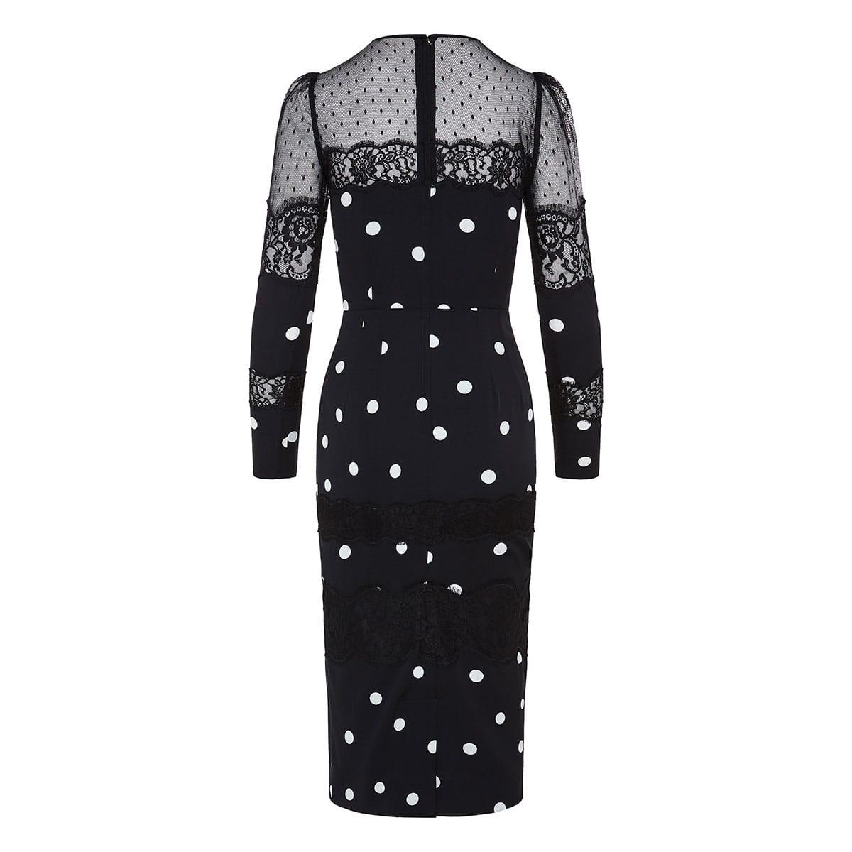 Lace-paneled polka-dot midi dress