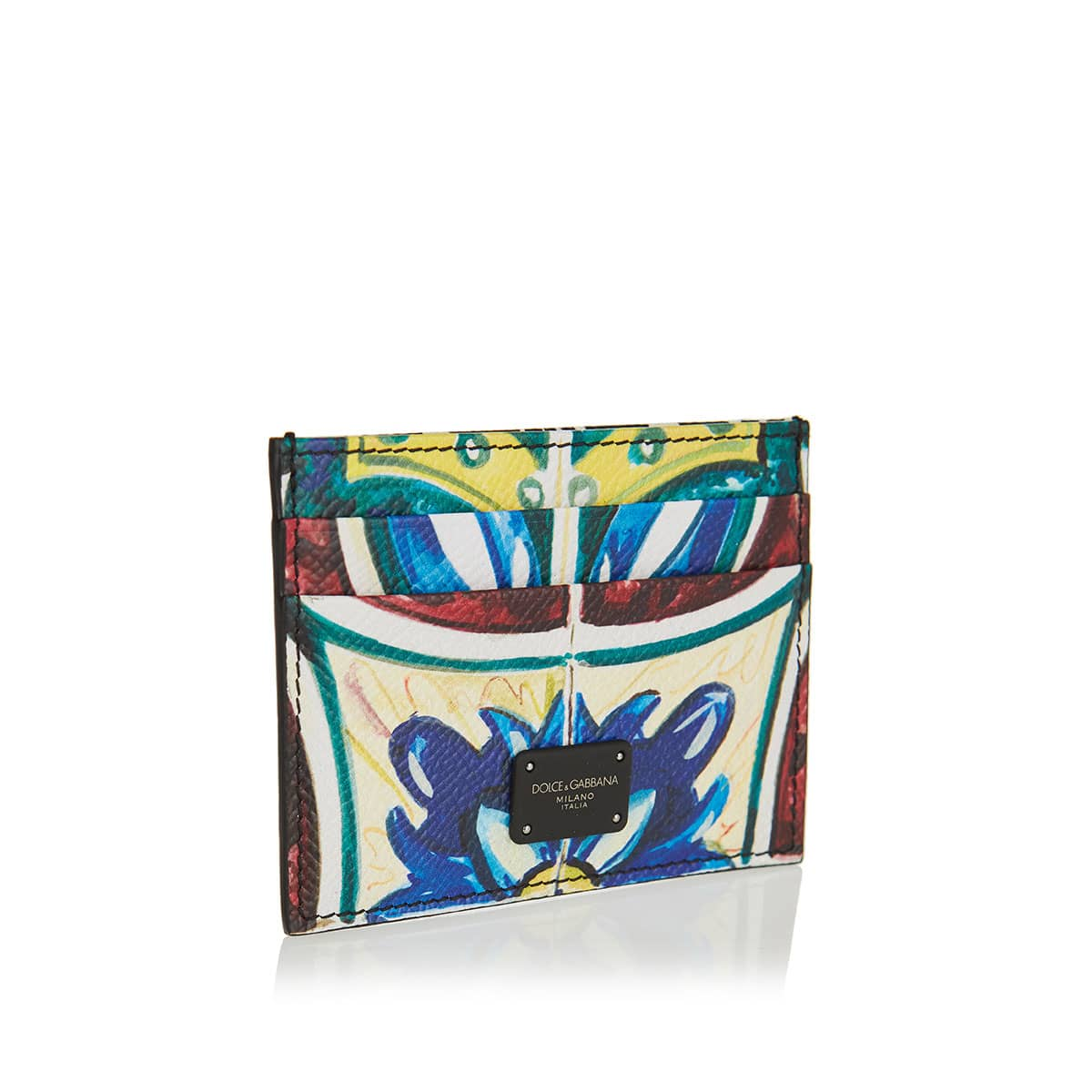 Maiolica print leather card case