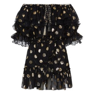 Off-the-shoulder polka-dot ruffled mini dress