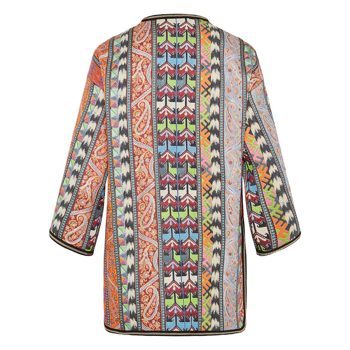 Patchwork printed embroidered kimono jacket
