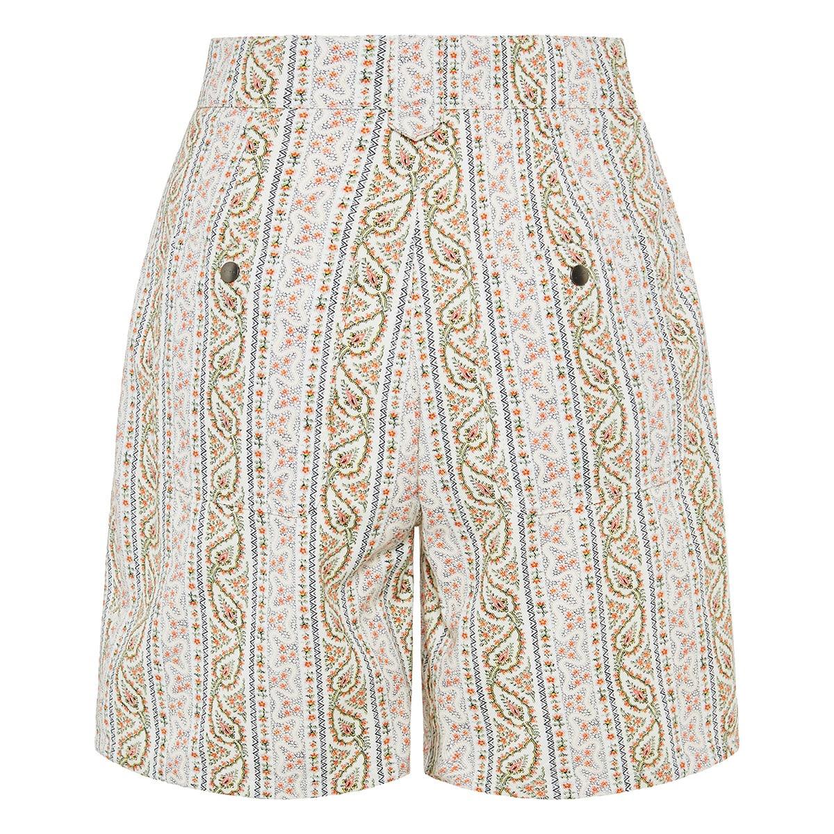 High-waist paisley denim shorts