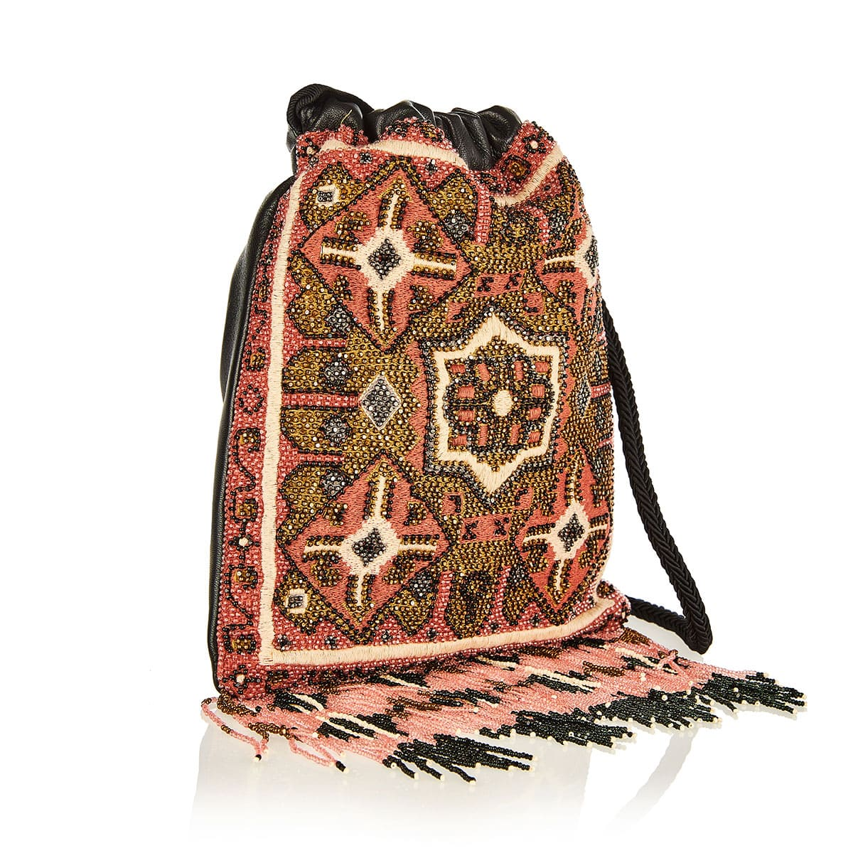 Embroidered leather pouch with beads