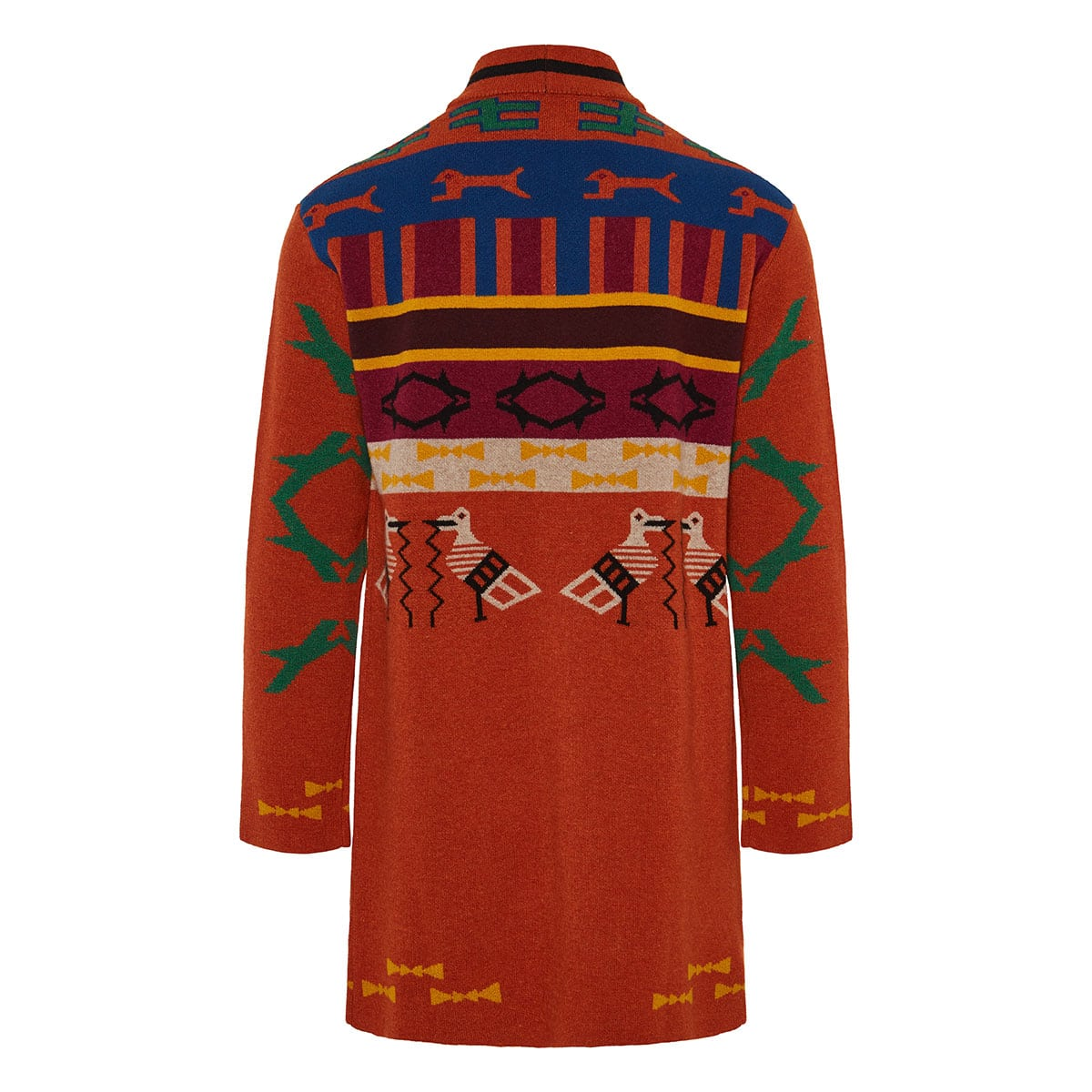 Printed jacquard wool cardigan