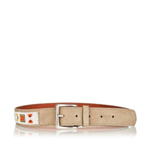 Bead-embroidered suede belt
