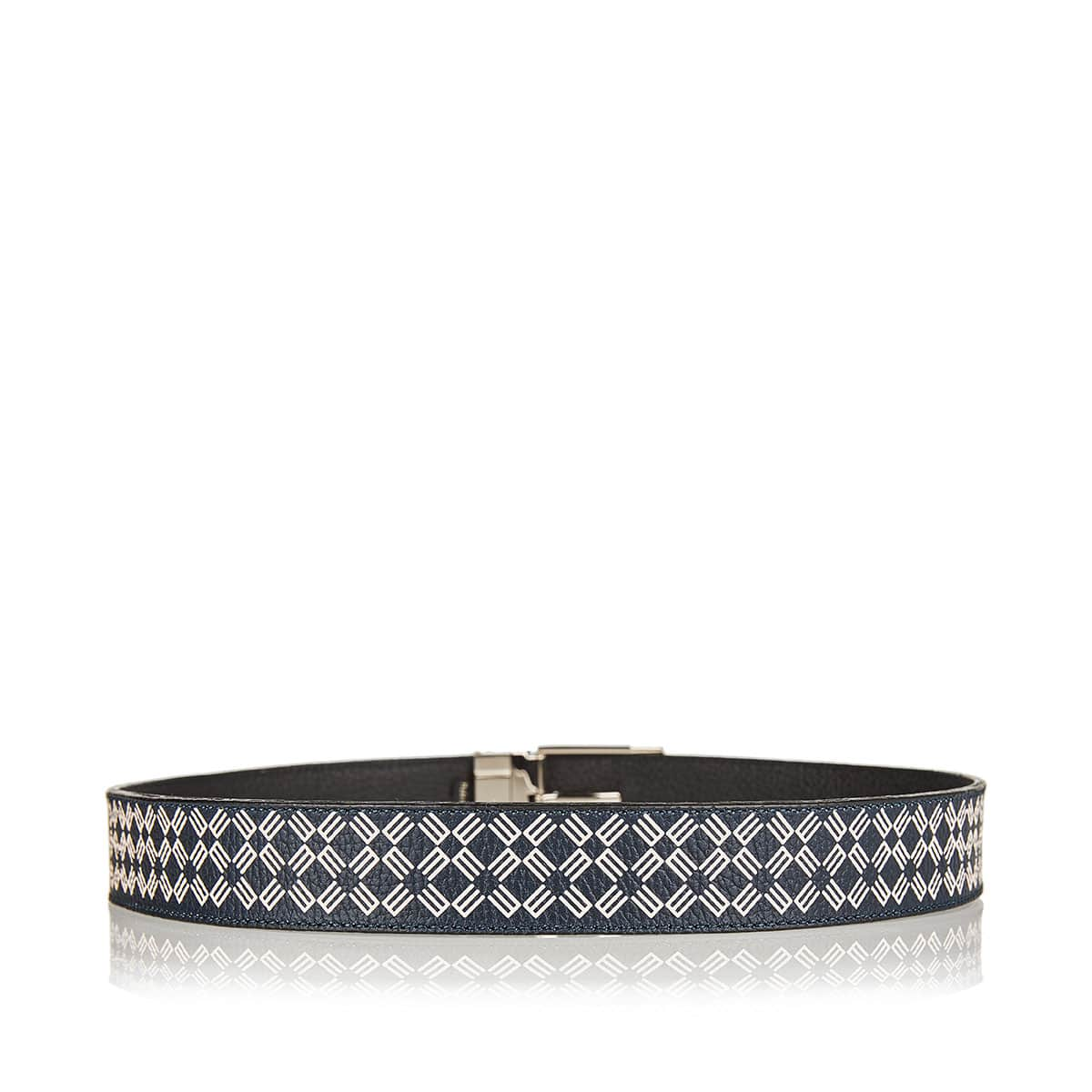 Graphic print leather belt