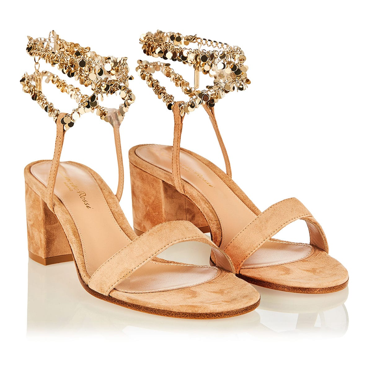 Tebe 60 chain-embellished suede sandals