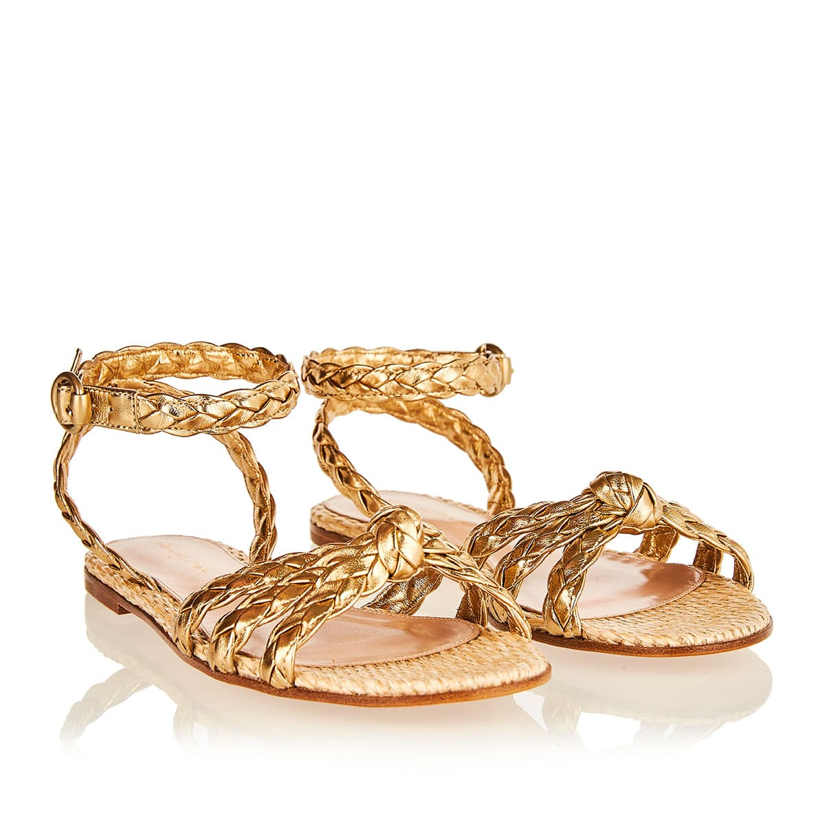 Braided leather and raffia flat sandals