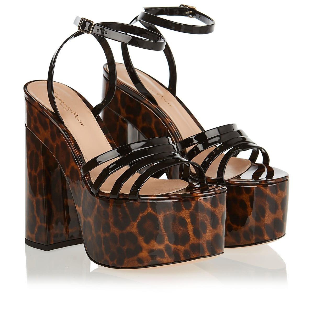 Ursula leopard patent chunky sandals