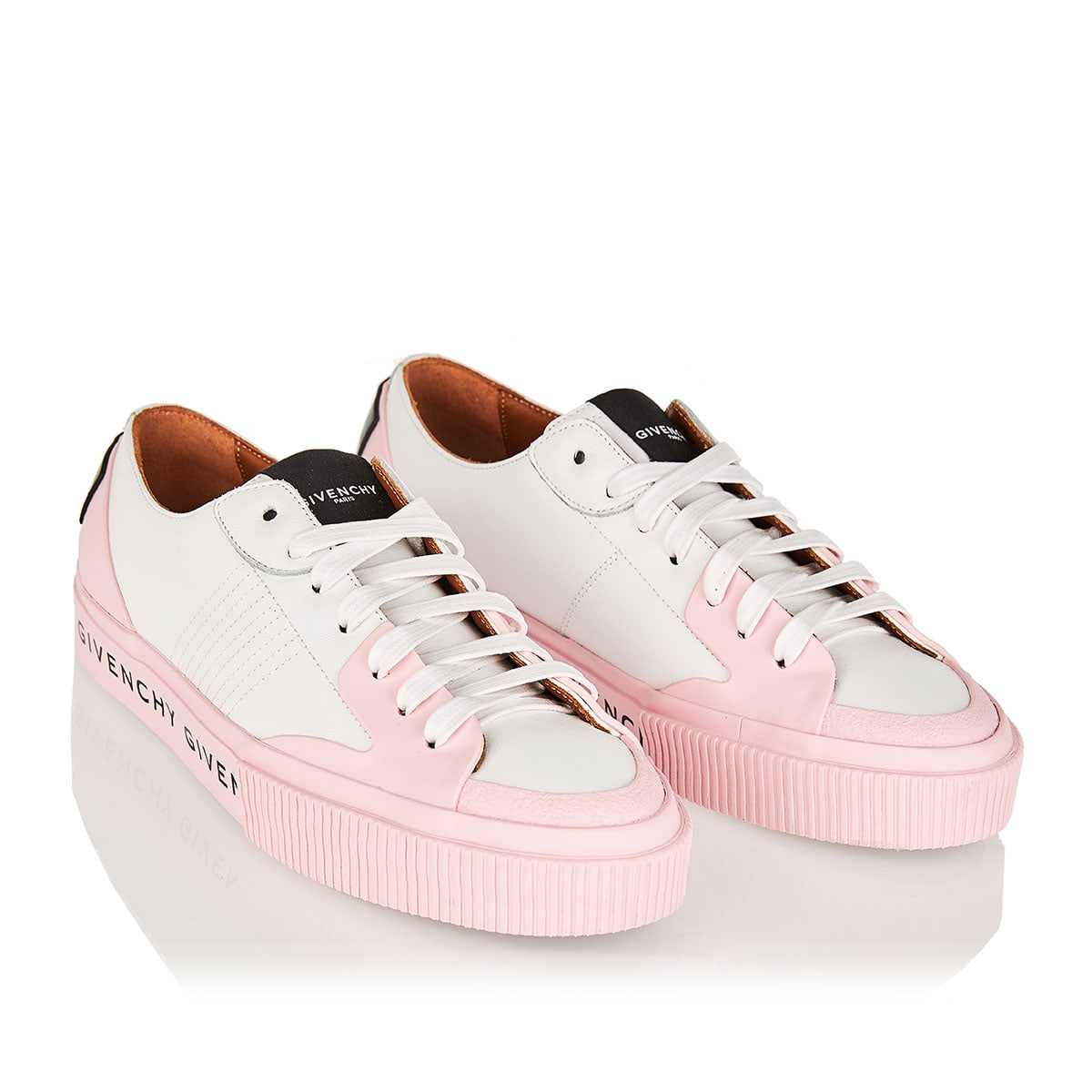 Two-tone logo leather sneakers