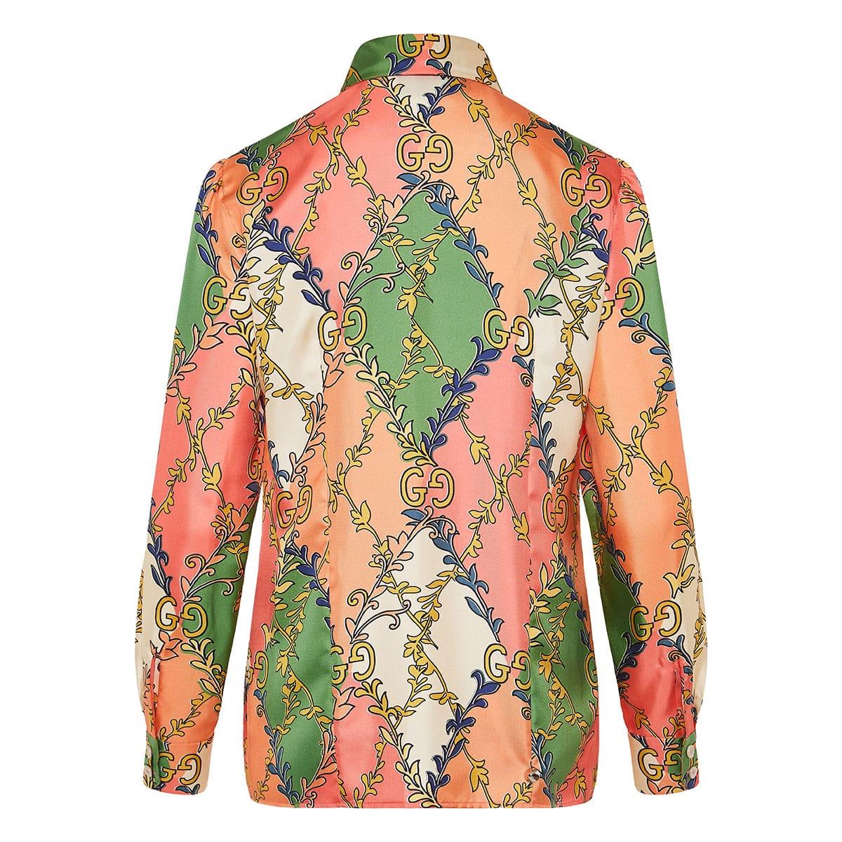 Bow-tie GG printed silk shirt