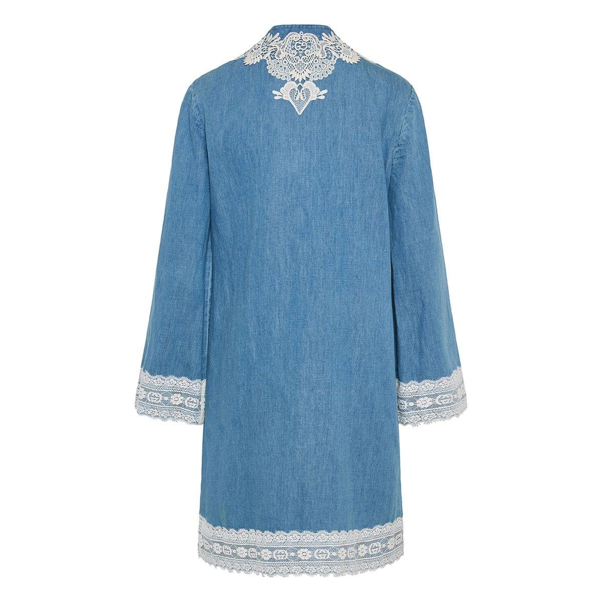Lace-paneled denim kaftan dress