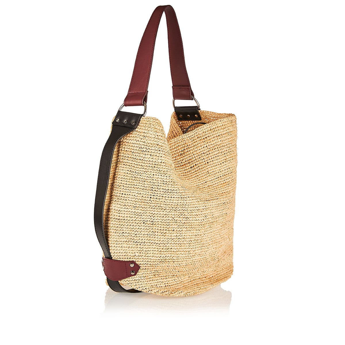 Bayia medium straw and leather bag