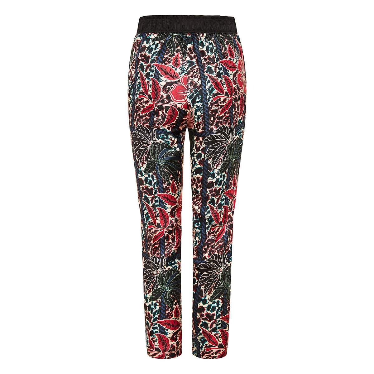 Floral cropped silk trousers