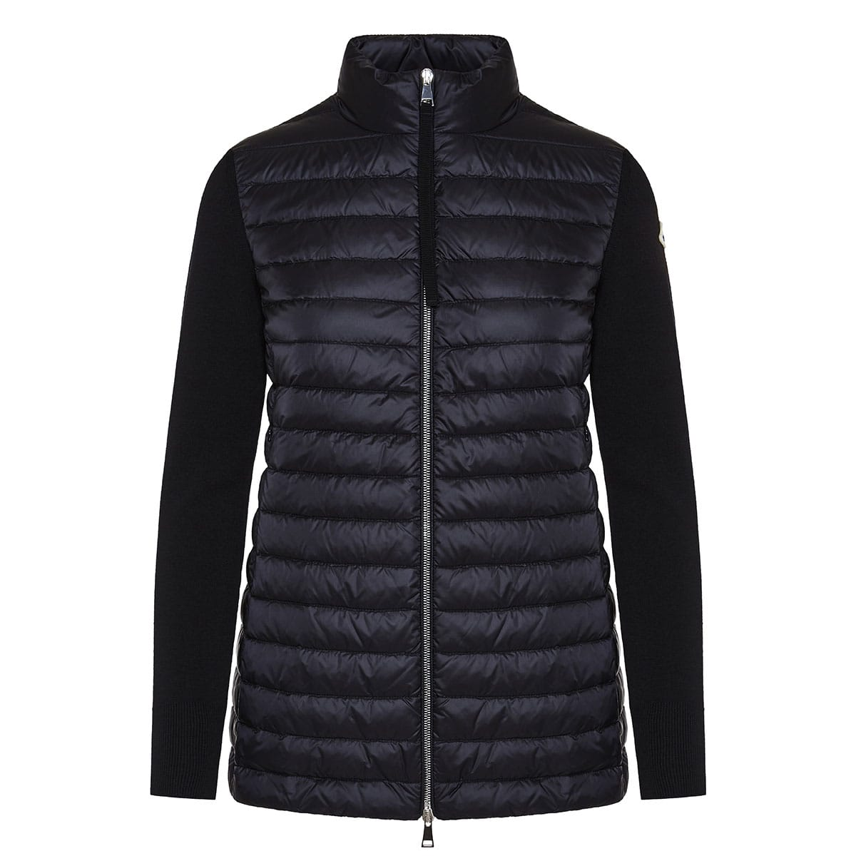 Puffer jacket with knitted sleeves