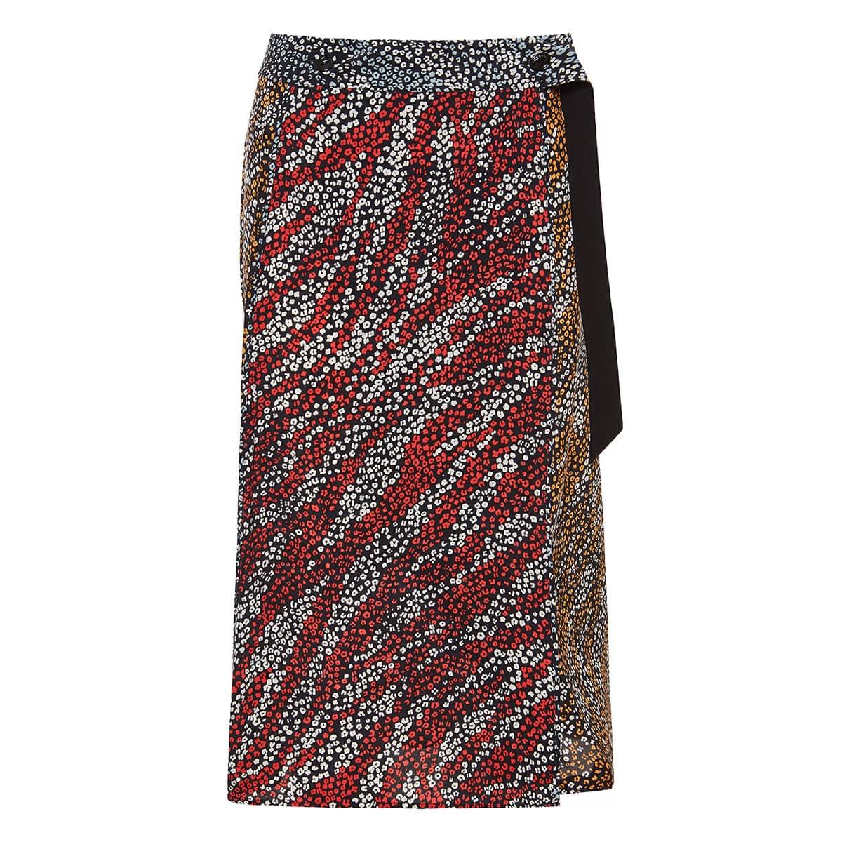 Colette printed wrap midi skirt