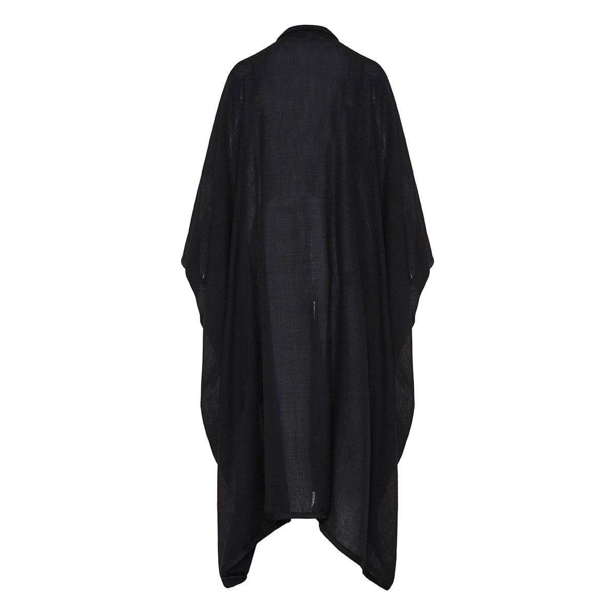 Tasseled long wool shawl