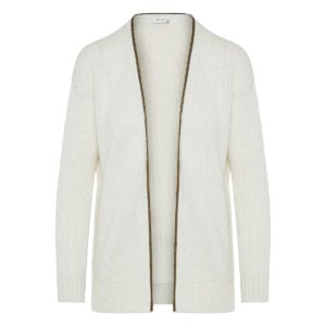 Chain-trimmed wool cardigan