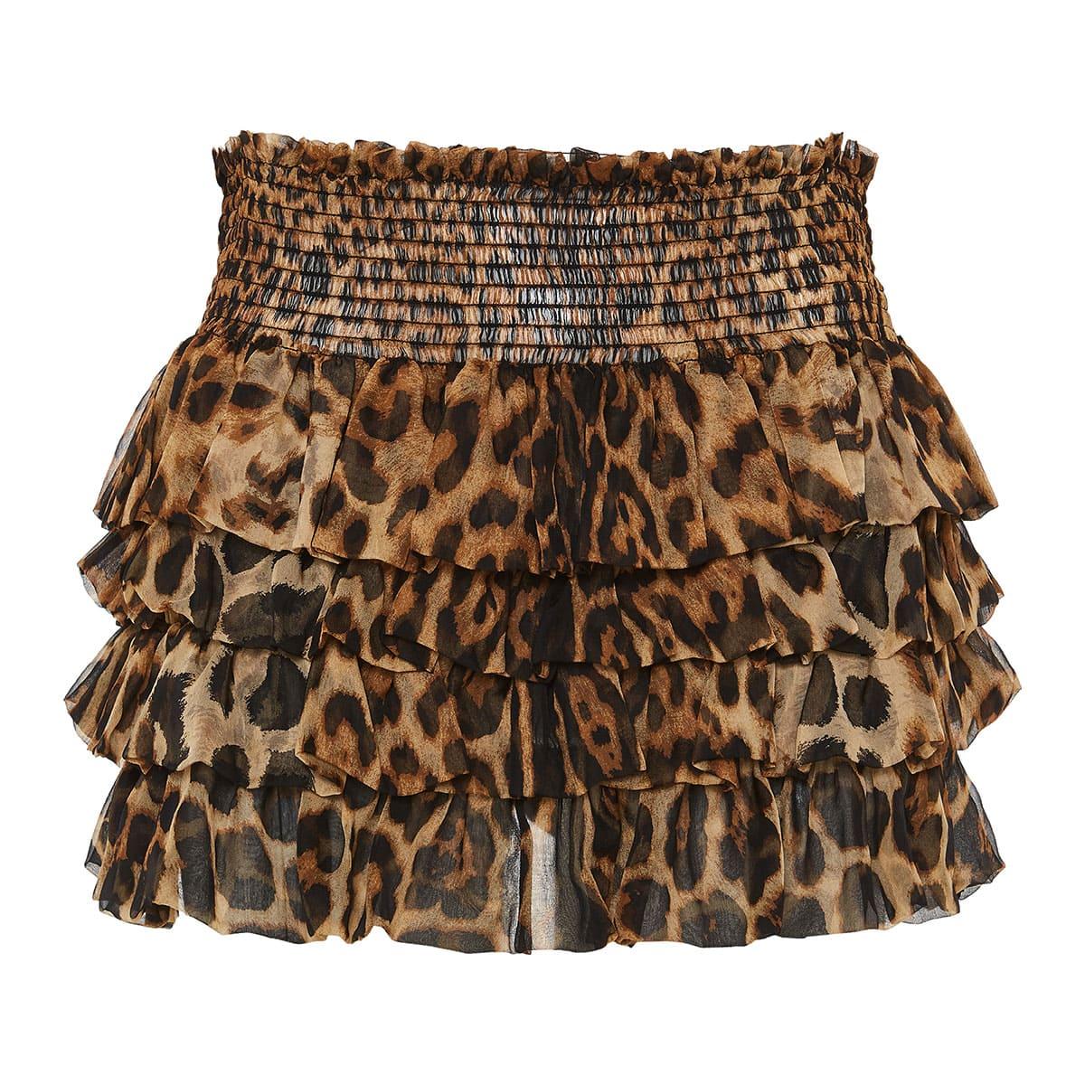 Leopard ruffled mini tiered skirt