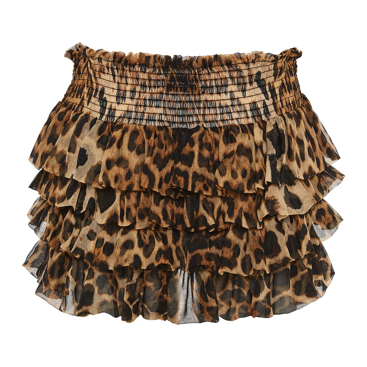 Leopard ruffled mini tiered skirt